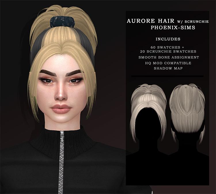 Phoenix-Sims' Aurore Hair w/ Scrunchie Sims 4 CC