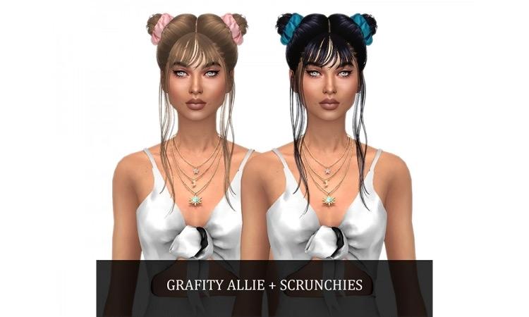 Grafity Allie's Hair + Scrunchies TS4 CC