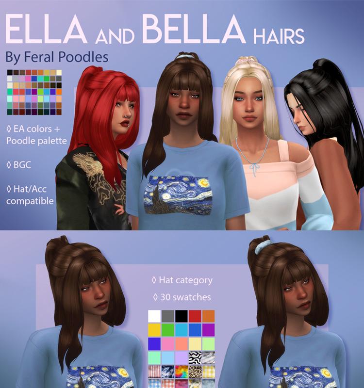 Feral Poodles Ella & Bella Hairs w/ Bonus Scrunchie Acc Sims 4 CC