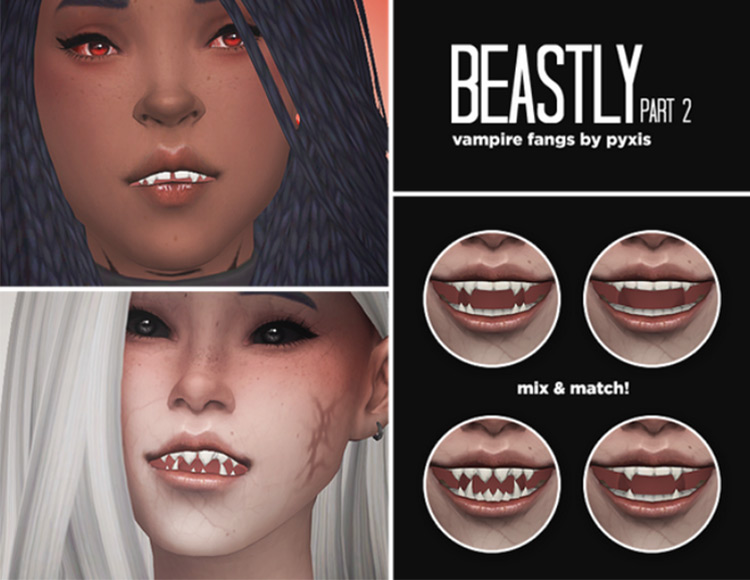 Beastly Part 2 – Vampire Fangs by Pyxis Sims 4 CC