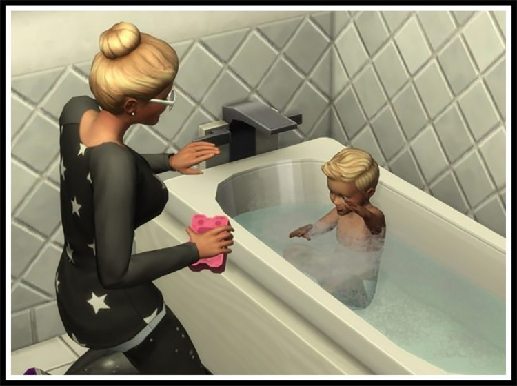 No Puddles Under Bathtubs from Splashing Toddlers by littlemssam Sims 4 CC