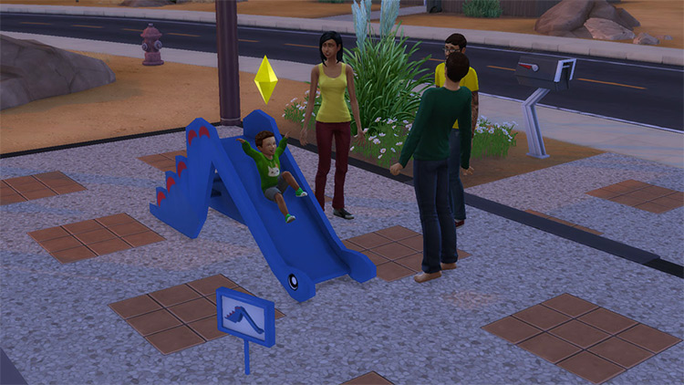 Functional Dino Slide (with Custom Animation) by necrodogmtsands4s Sims 4 CC