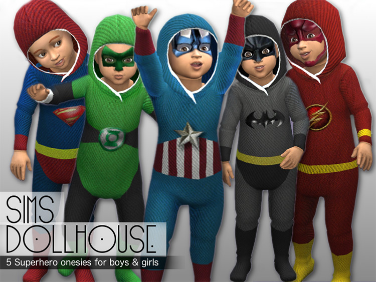 Superhero Onesies and Masks for Toddlers by SimsDollhouse TS4 CC