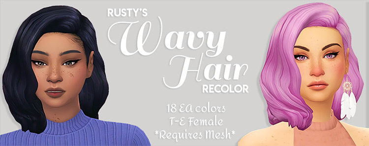 Toxicsimlish's Recolor of Rusty's Wavy Hair Sims 4 CC