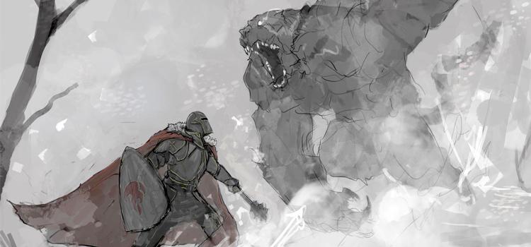 Snow battle vs artic bear painting