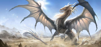 Fierce white-colored dragon digital painting