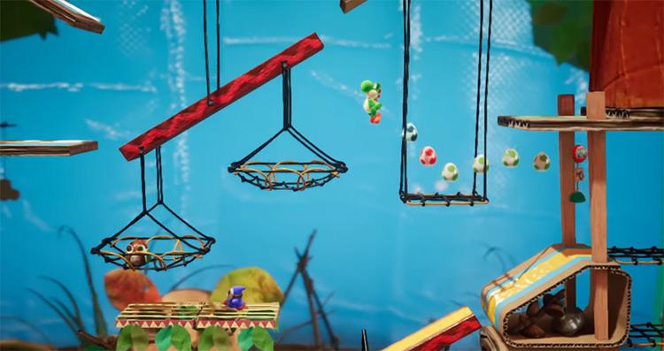 Yoshi's Crafted World gameplay
