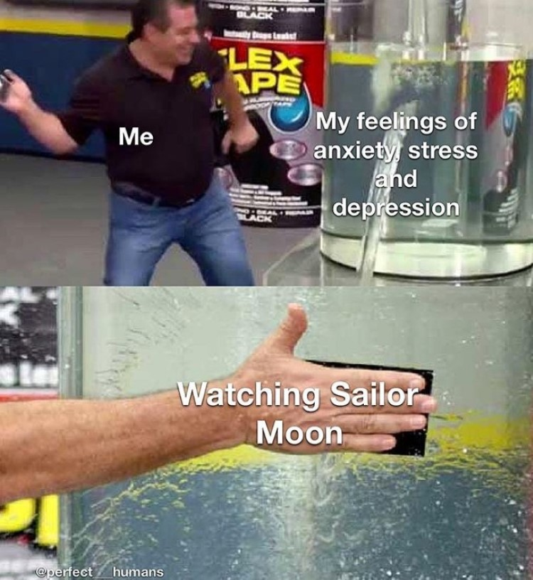 Anxiety and depression? Fixed by watching sailor moon meme