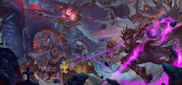 Castle gates magical battle digital painting