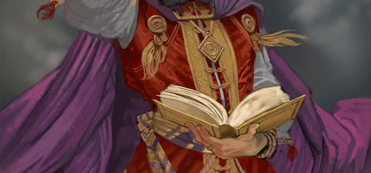 Digital painting - wizard holding a spell book