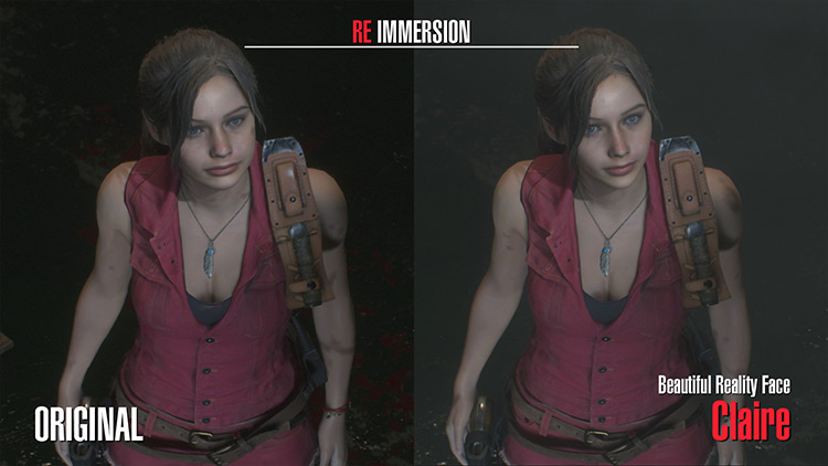 Claire – Beautiful Reality Face RE 2 remake mod