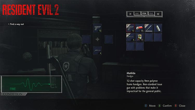 Classic Inventory & Health Bar Resident Evil 2 remake mod