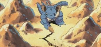 Garys Nidoqueen using Rock Smash in Pokemon Anime