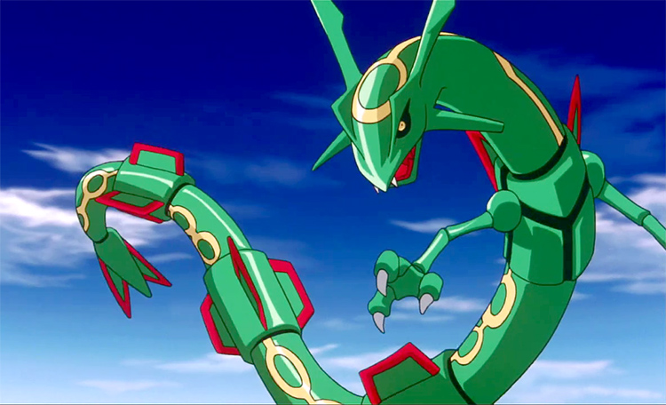 Flying Rayquaza in Pokémon screenshot