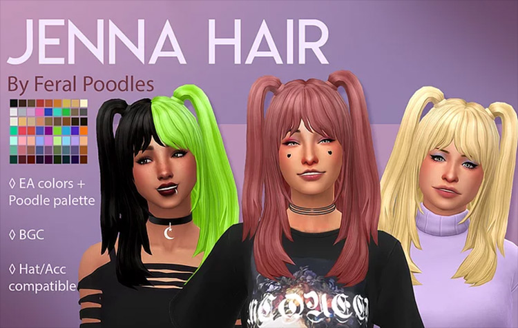 Feral Poodles' Jenna Hair Sims 4 CC screenshot