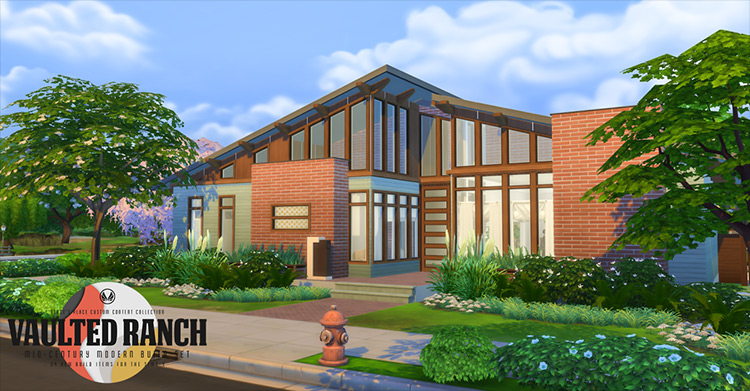 Vaulted Ranch CC for Sims 4