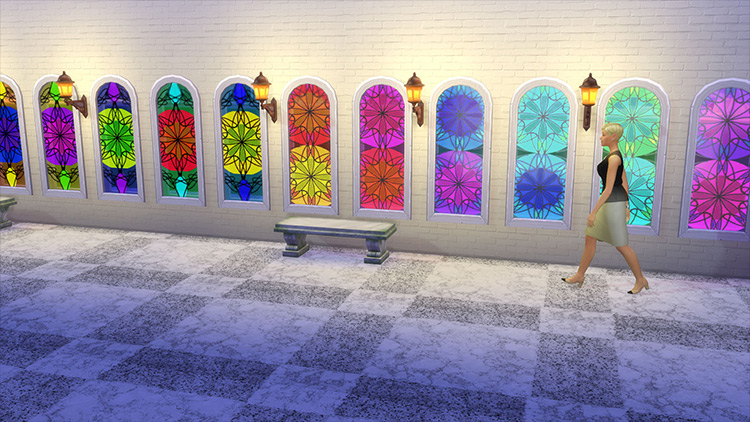 Stained Glass Windows with Rosettes CC for Sims 4