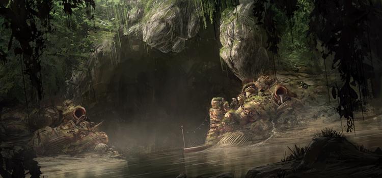 Dark cavern digital painting by Tom Prante