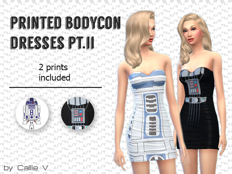 Printed Bodycon Dresses mod for TS4
