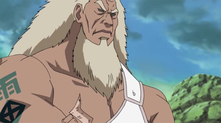 Una captura de pantalla del anime de Naruto (Third Raikage)