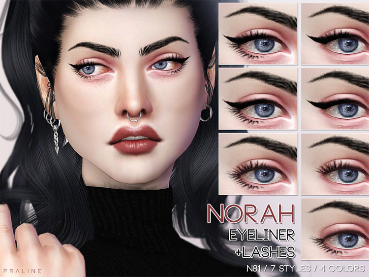 Norah Eyeliner (+ Lashes N81) by Pralinesims for Sims 4