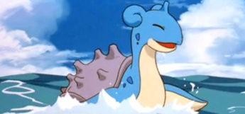 Lapras surfing and splashing in Pokemon Anime