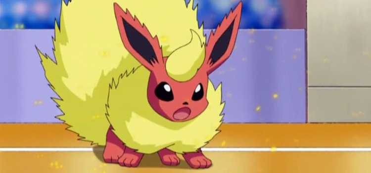 Flareon in battle - Pokemon anime screenshot