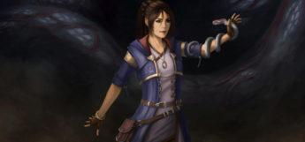 Female warlock holding her snake