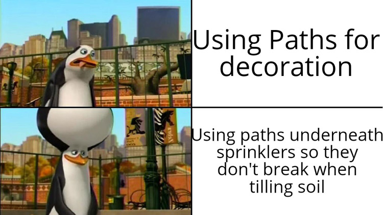 Stardew meme - using paths for decorations