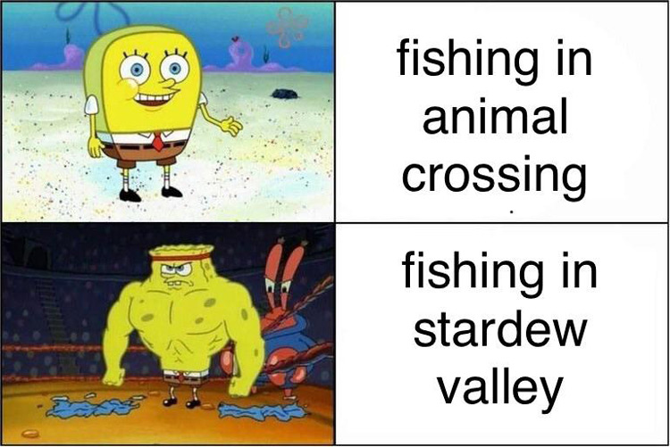 Spongebob crossover Stardew fishing meme