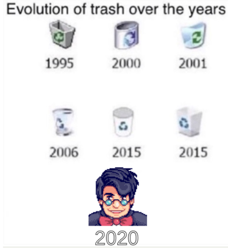 Evolution of trash Stardew meme