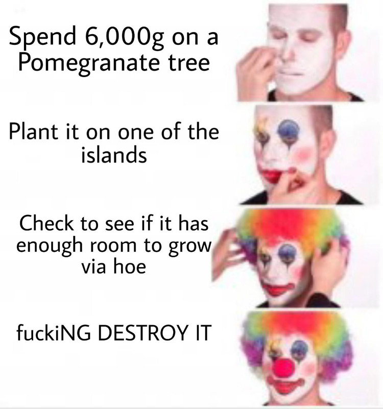 Spending 6000g on pomegranate tree Stardew meme