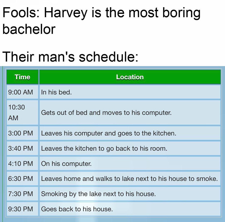 Harvey boring schedule meme