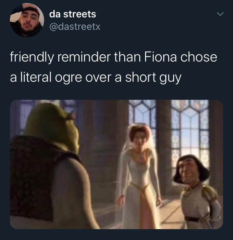 Fiona chose a literal ogre over a short guy meme
