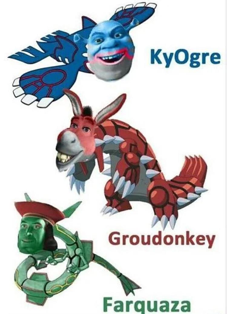 KyOgre, Groudonkey, Farquaza Pokemon Shrek crossover meme