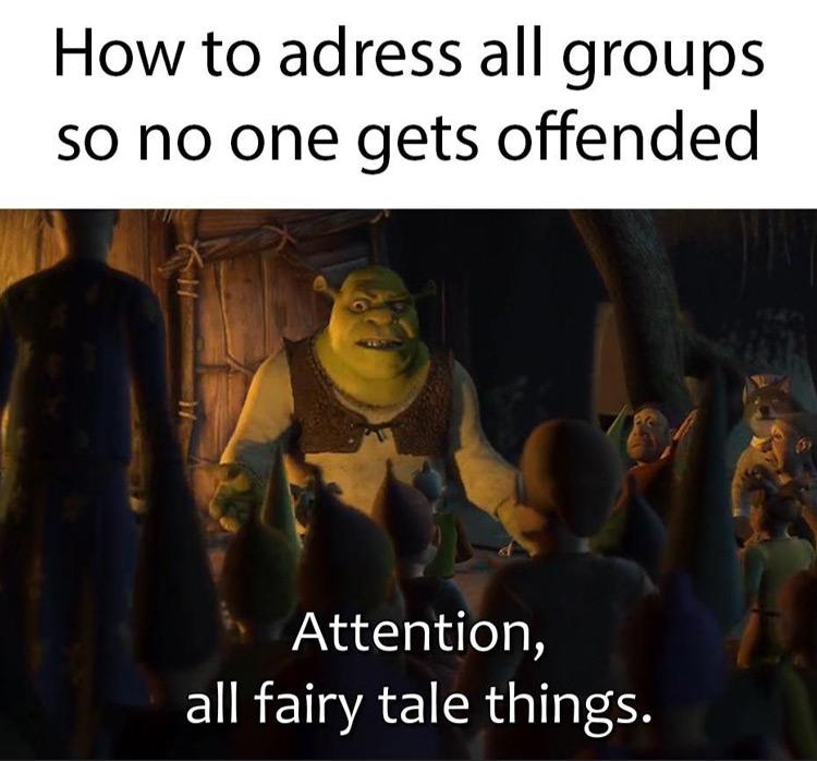 Shrek offended attention meme
