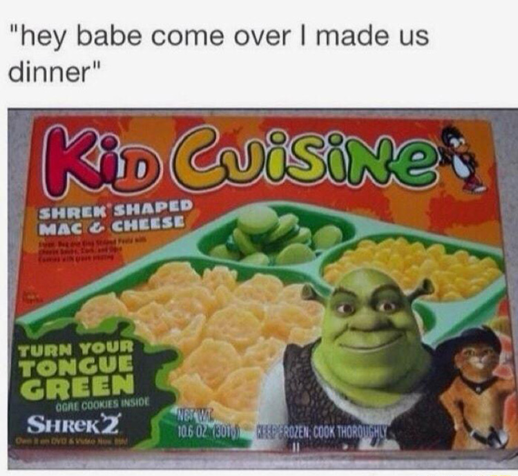 Kid Cuisine Shrek meme