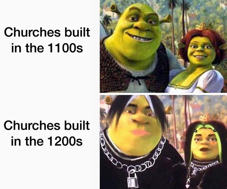 Churches built in the 1100s vs 1200s meme