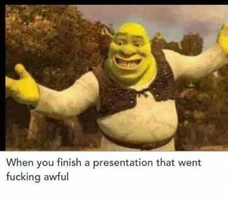 When you finish a presentation that went awful - Shrek meme