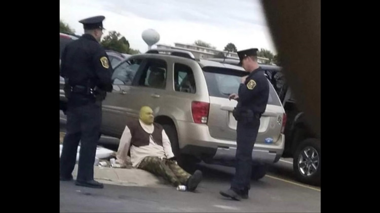 Shrek being arrested meme