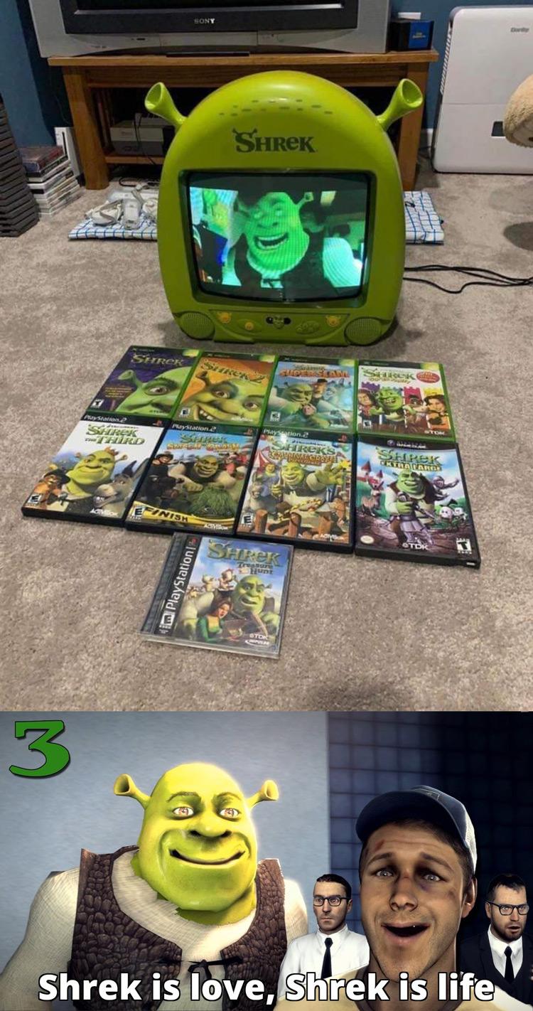 Shrek TV with Shrek DVDs