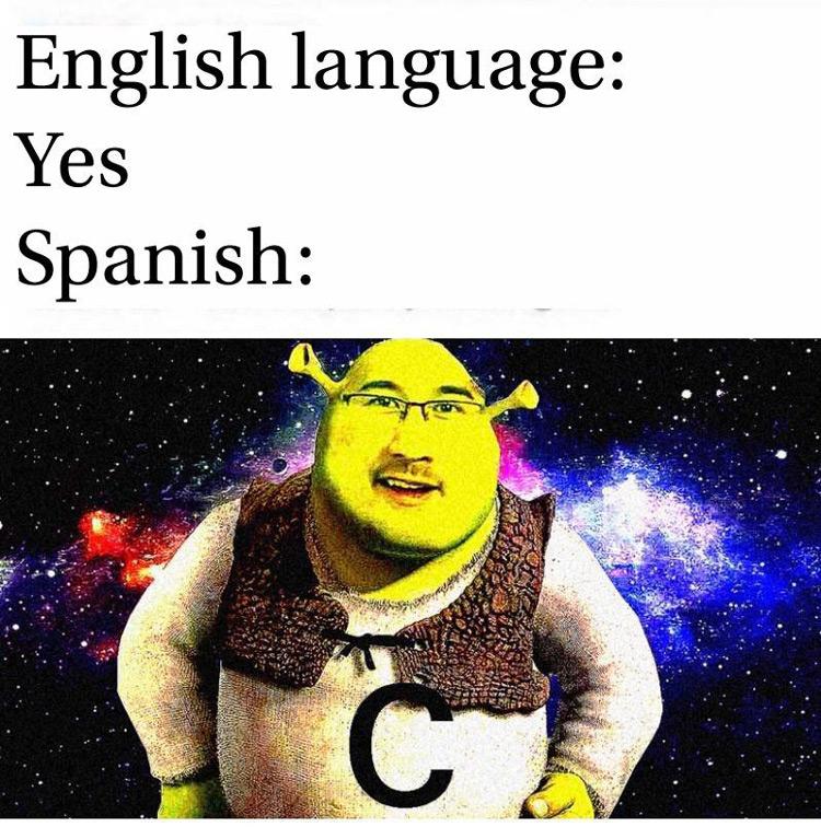 English vs Spanish Shrek meme