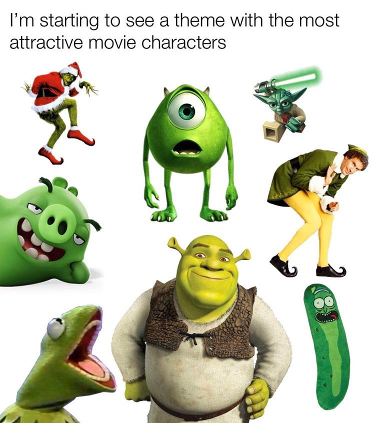 Shrek green characters meme