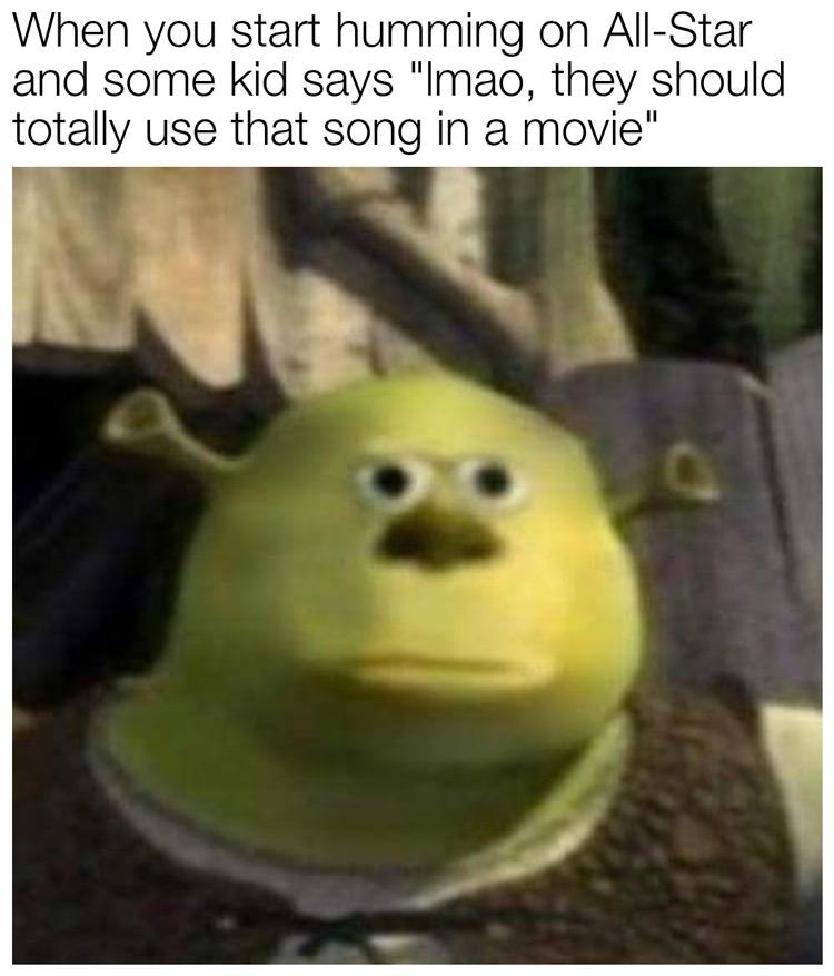 Shrek all star serious face meme