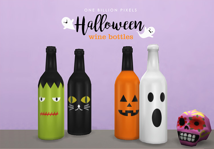 Halloween Wine Bottles CC for Sims 4