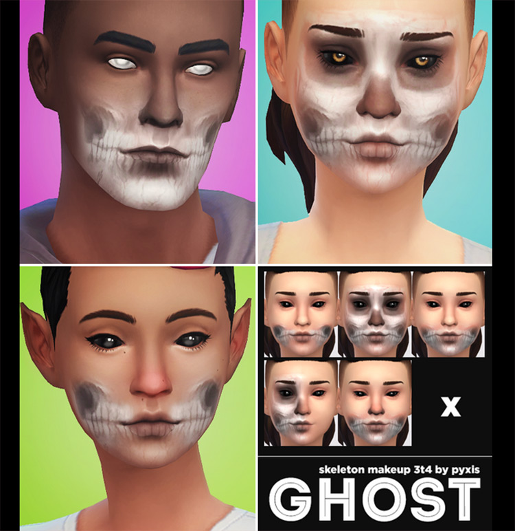 Ghost Skeleton Makeup CC for Sims 4