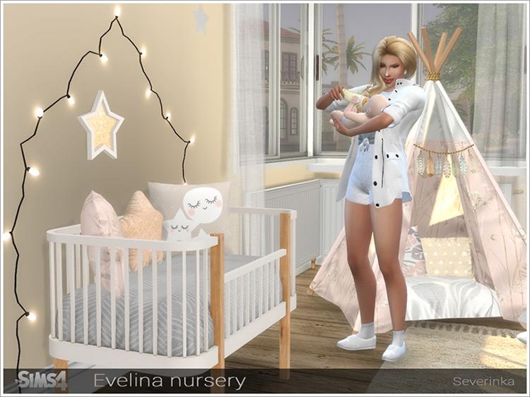 Mother and baby with Evalina Nursery Crib Sims 4 Mod