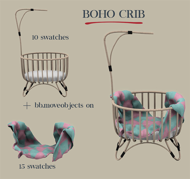 Boho Crib Sims 4 Mod screenshot