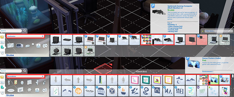 Spiderweb Hardcore Gaming Set - TS4 CC menu screenshot