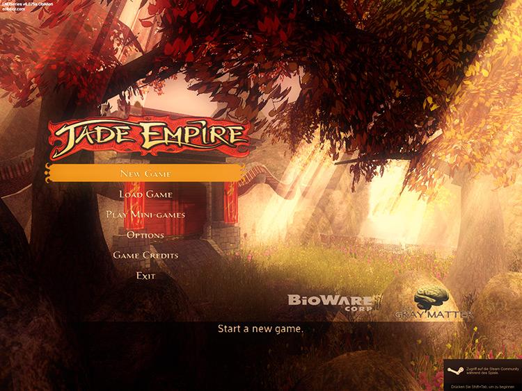 Sepia ENB Jade Empire Mod start menu